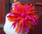 felted flower corsage pin brooch, handmade, felted wool flower, lagenlook, handmade, shawl pin, red,blue,pink,orange, MADE TO ORDER