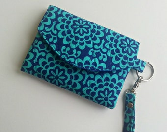 Quilted Keychain Wallet in Amy Butler's Wallflower Marine