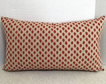 BOTH SIDES 24 X 14 lumbar pillow cover long rectangle Lacefield Sahara geranium polka dot orange red