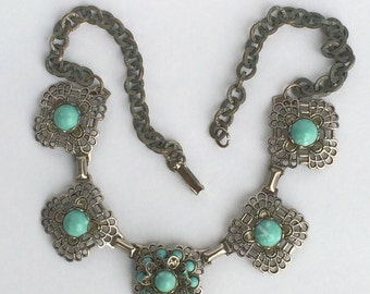 Vintage Silver Tone filigree and Turquoise Choker
