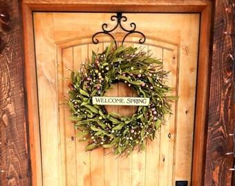 Spring Twig Wreath-Spring Door Wreaths-Twig Wreath-Easter Wreath-Pastel Bay Leaf Wreath-Scented Wreath-Housewarming Gift