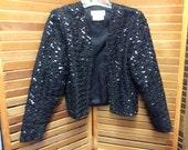 Black Sequin Belero Party Jacket Vintage