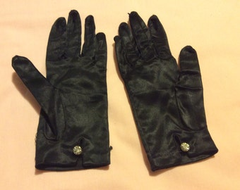 Retro 1950's Black Satin Gloves Wrist Length Rhinstone Button