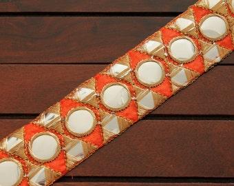 1 Yd Orange Silk Trim-Embroidered Fabric Mirror Trim-Silk Sari Border Trim-Table Runner Art Quilt Fabric Trim-Silk Fabric Ribbon-India trim