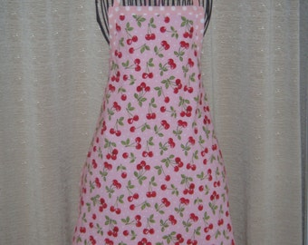 Red Cherries & White Polka Dots Adult Apron pink with white polka dots bunches of cherries