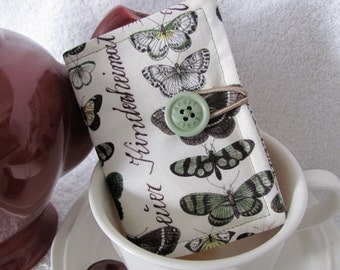 Quilted Tea Wallet Butterfly Theme Fabric Matching Mini Green Polka Dot/Beige Fabric Quilted Tea Leaf Stitch - Vintage Green Spirit Button