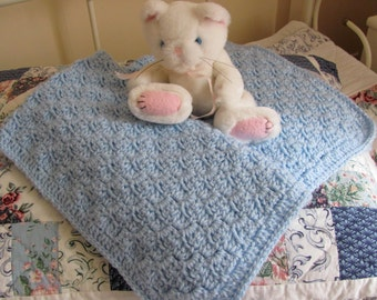 "Blue Baby Afghan Hand Crocheted Acrylic ""I Love This Yarn"" Soft Stroller or Car Seat Blanket, Poweder Blue Baby Shower Christening/Baptism"
