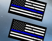 "Police officer, thin blue line, American flag vehicle decal, vinyl graphic art - Pack of two 4"" decals"