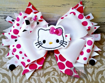 Hello Kitty Stacked Boutique Hairbow with Cat Felt Clip Center - Kitty Hair Clip - Hand Sewn Bow - RTS (Ready to Ship)