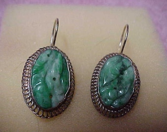Antique Jade Earrings, Inherited through Four Generations, 20MMx10MM, Ear Wires, Sterling Silver