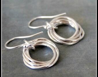 Five Interlocking Rings Silver Earrings, 50th Birthday, Entwined Rings Jewelry