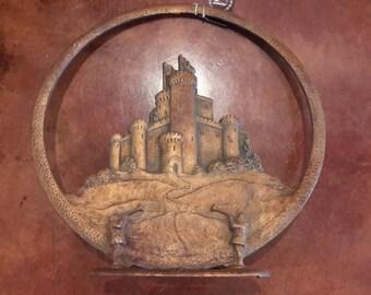Antique Cast Iron Tower Mfg Speaker 1920's Bronze Tone Castle Cone Tube Radio Speaker Rare Find