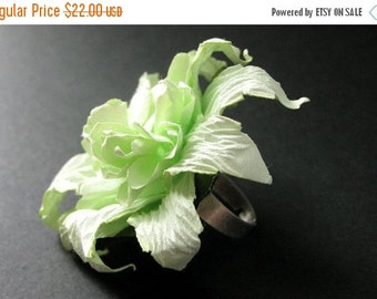 BACK to SCHOOL SALE Green Flower Ring. Paper Flower Ring. Light Green Carnation Flower Ring. Silver Adjustable Ring. Handmade Jewelry.