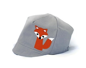 Boys Fox Hat, Grey Argyle Reversible Fox Hat, Summer Hat, Baby Toddler or Child Hat-  XXS XS S