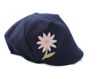 Girls Navy Blue Spring Hat, Easter Hat, Girls Wee Dee Sewn Flower Cap, Reversible, Baby, Toddler, Child or Kids - XS