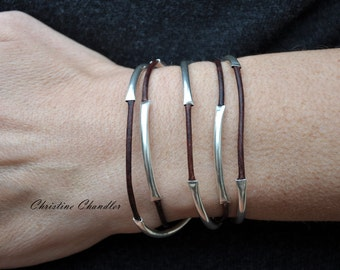 Christine Chandler - Leather Jewelry - Leather and Sterling Silver Wrap Bracelet - Leather Necklace - Leather Bracelet - Leather Jewelry