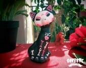 Pink Cat Figurine Cat Sculpture Painted Handmade Skull Cat - Sugar Skull Day of the Dead - Halloween - Ganbatte Black Cats
