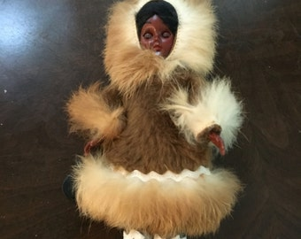 Carlson Eskimo Doll, Native American Doll, Leather Boots, Leather Mittens, Real Fur Trimmed