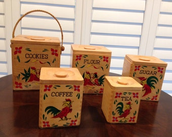 5 Wood Canister set Rooster vintage chicken unique cookies one