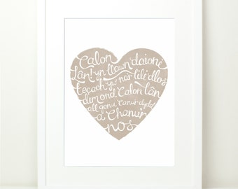 Calon Lan Heart Print. Natural beige with Hand Lettering. Welsh Rugby Song Lyrics. Pure Heart. Wales Patriotic Cymru.12x16. Welsh art.