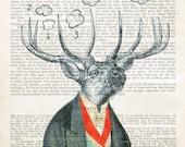 SEVEN HEAVEN DEER art dictionary print poster illustration clouds fashion