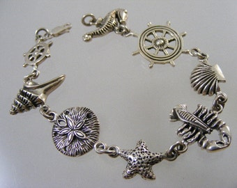 Vintage Nautical Theme Beach Bracelet in Sterling.....  Lot 4370