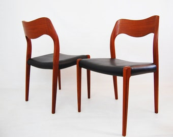 J. L. Moller Model 71 Teak Dining Chairs - 2 Available