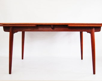 SALE: Danish Modern Hans Wegner Teak Dining Table AT-312 with Dutch Extensions Leaves by Andreas Tuck made in Denmark