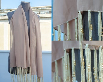 Vintage Ecru Shawl - extra large shawl with gold beaded tassels