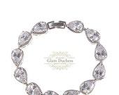 Bridal bracelet, Wedding bracelet, bridal jewelry, bridesmaid bracelet, silver bracelet, Cubic zircon Crystal bracelet, bridesmaid jewelry