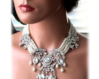 Wedding jewelry, OOAK Bridal bib necklace, vintage inspired pearl necklace, rhinestone Victorian bridal statement necklace