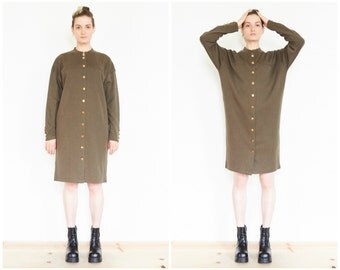 90s Tapered Long Sleeve Military Sweater Dress