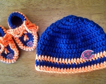 Crocheted Chicago Bears Hat/Booties Set