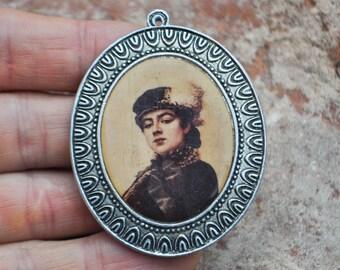 Vintage Soviet Russian aluminum necklace pendant.