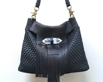 Crystal Templar Black Leather Woven Fringe Bag