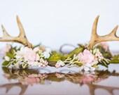 Antler Flower Crown - Woodland Theme Flower Rustic Halo - Flowergirl piece - Wedding - Deer Newborn Prop - Wedding Crown - Floral Hairpiece
