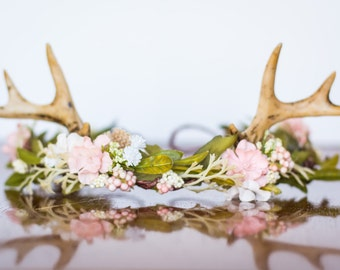 Antler Flower Crown - Woodland Theme Flower Rustic Halo - Flowergirl piece - Wedding - Deer Newborn Prop - Wedding Crown - Floral Hairpiece