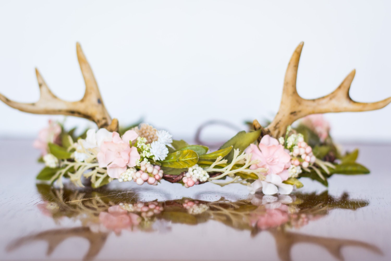 Antler Flower Crown Woodland Theme Flower Rustic Halo