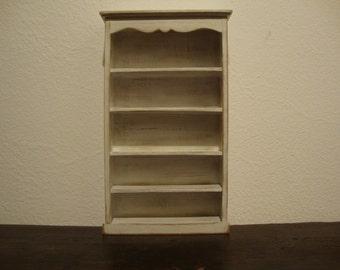 dollhouse miniature furniture  shelf in walnut wood decorated shabby chic, white