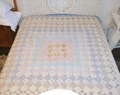 Reserved for Dixie Antique Handstitched Signed Summer Quilt