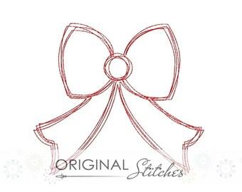 Quick Stitch Girl's Ribbon Bow Machine Embroidery Design File 4x4 5x7 6x10 7x11