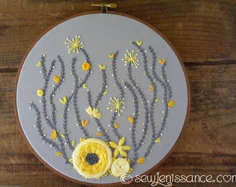 Hand Embroidery Hoop Art Wall Hanging Yellow Flowers on Grey in Eight Inch Hoop Ready to Ship