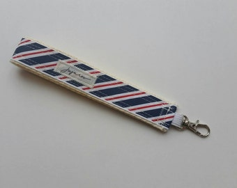 Red & Navy Stripe Wristlet Key FOB / Key Chain