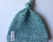 Aqua sweater knit knotted hat- winter hat- sweatshirt lined- aqua haachi knit