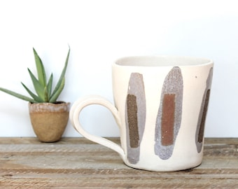 Coffee Mug, Stripe Stoneware Coffee Mug, Textured Mug, Handmade Pottery Mug
