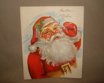 sale - Vintage 1940's Christmas Card ~ Santa Claus with Real Feather 'Fur' Beard ~ A-Mer-Card ~ (5x6)