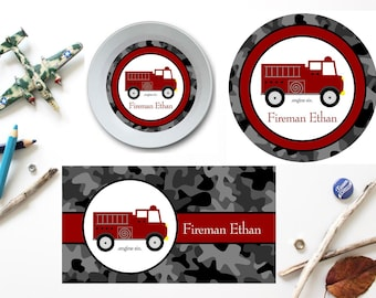 Fire Truck Plate/Bowl/Placemat . Personalized Plate/Bowl/Placemat . Boys Plate/Bowl/Placemat . Truck Plate/Bowl/Placemat . Melamine Plate