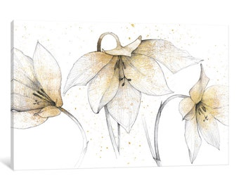 iCanvas Gilded Graphite Floral Trio Gallery Wrapped Canvas Art Print by Avery Tillmon