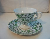 Vintage Green Floral Tea Cup And Saucer Set