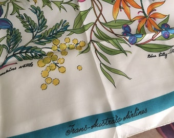 Trans-Australia Airlines vintage silk scarf native flora plants herbs transportation airline collectible